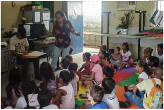 Alunas de escolas municipais participam de atividades de educação ambiental no Centro de Educação Ambiental – Espaço Bonsucesso (CEA). Foto: Passarinho/Pref.Olinda