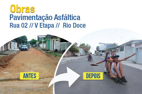 Rua 02, na V Etapa de Rio Doce, recebe pavimentação