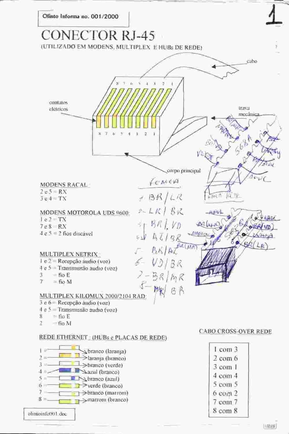 medium resolution of pinagem cabo serial db9 rj45