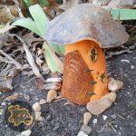 Tall Orange and Steel Blue Mushroom Faerie House