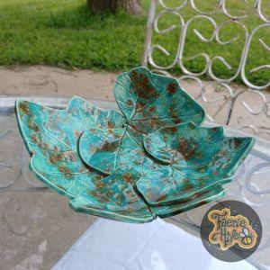 Brown & Turquoise Squash Leaves Bowl