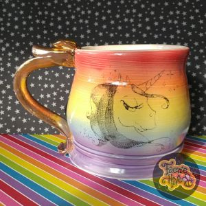 Rainbow Unicorn Stein - Double Thumb Rest