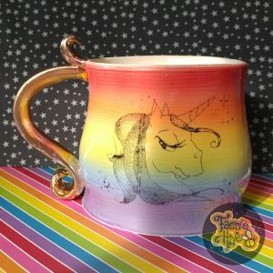 Rainbow Unicorn Stein - Curl Handle