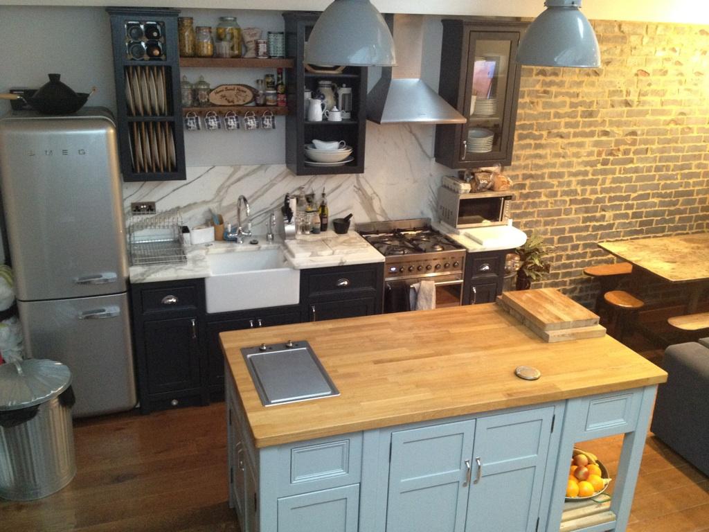 freestanding kitchen island granite top raj 39s with belfast sink black wall and base units