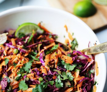 Thai chop salad with creamy peanut dressing and lime coconut chicken.