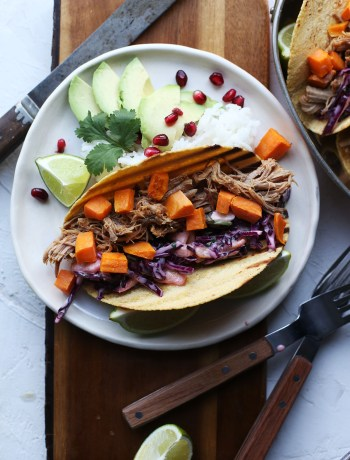 Pulled Pork Sweet Potato Tacos with Pineapple Sriracha Slaw