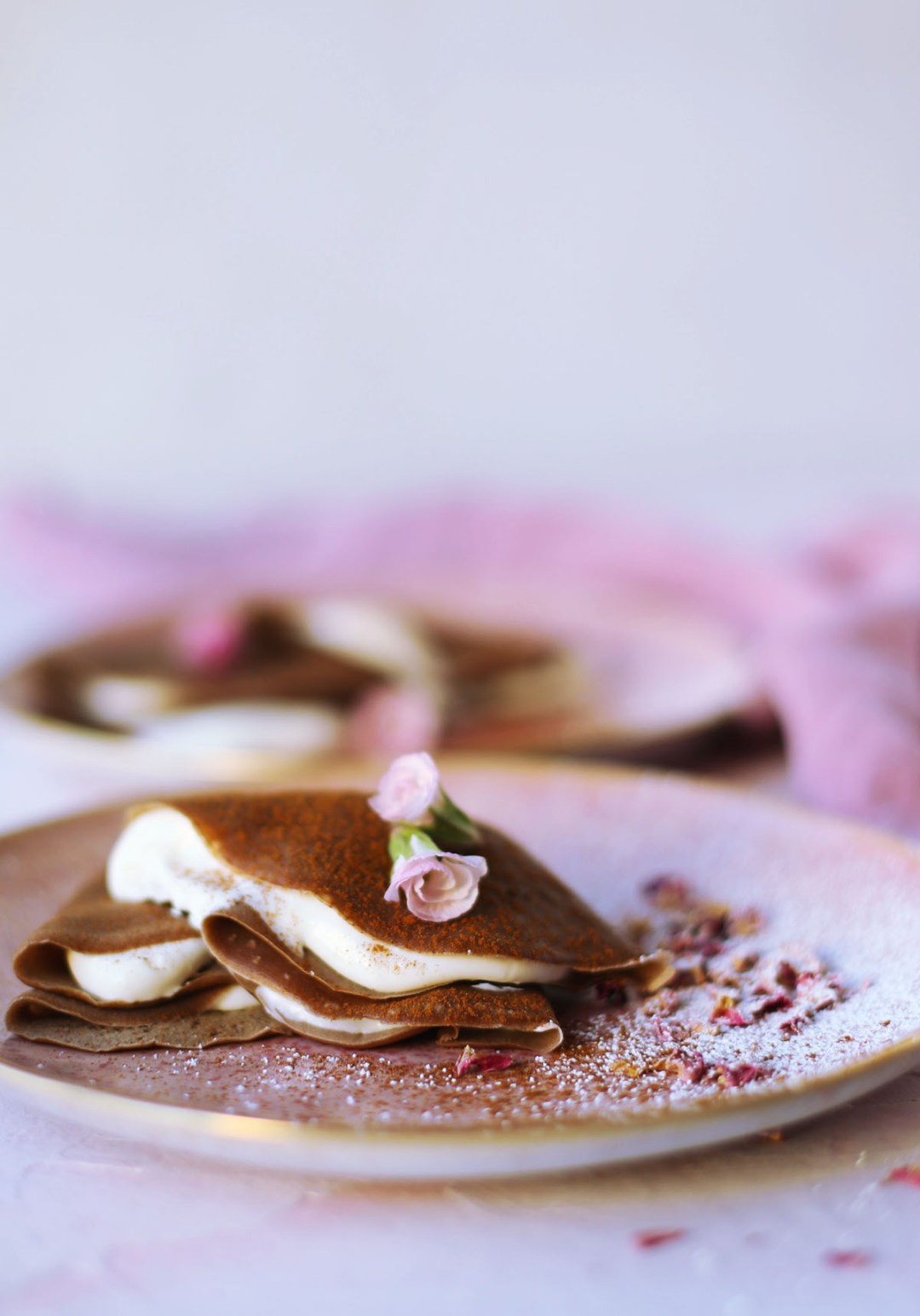 Mexican Hot Chocolate Crepes with Cream Cheese Filling
