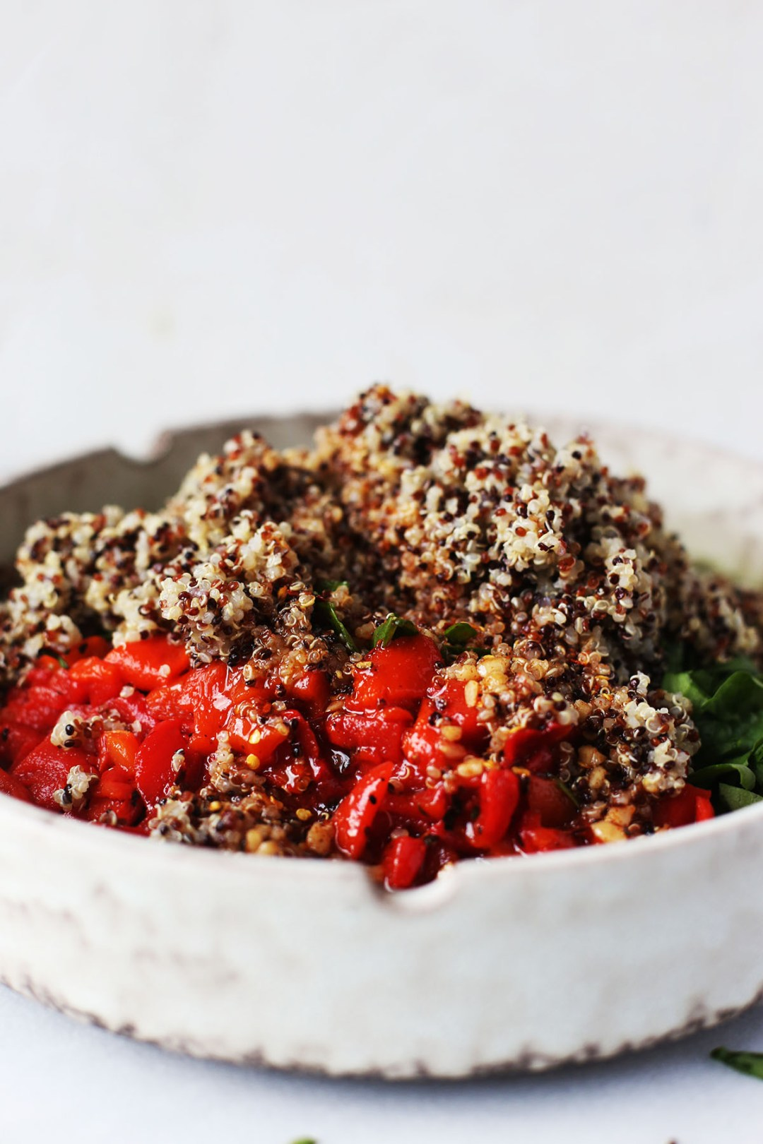 Chickpea Quinoa Salad with a Spicy Garlic Lime Dressing