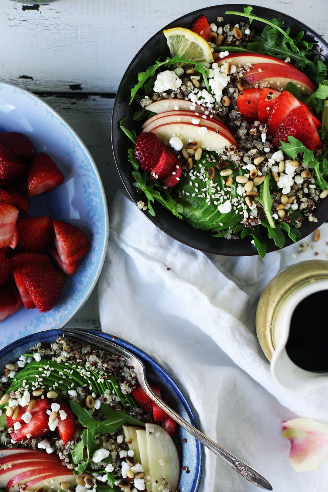 Strawberry Goat Cheese Quinoa and Arugula Salad With Balsamic Dressing