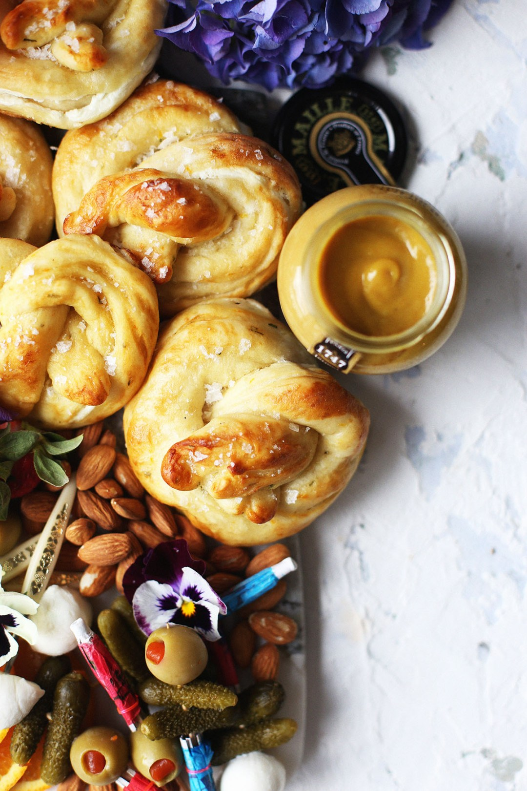 Orange Rosemary and Goat Cheese Stuffed Soft Pretzels