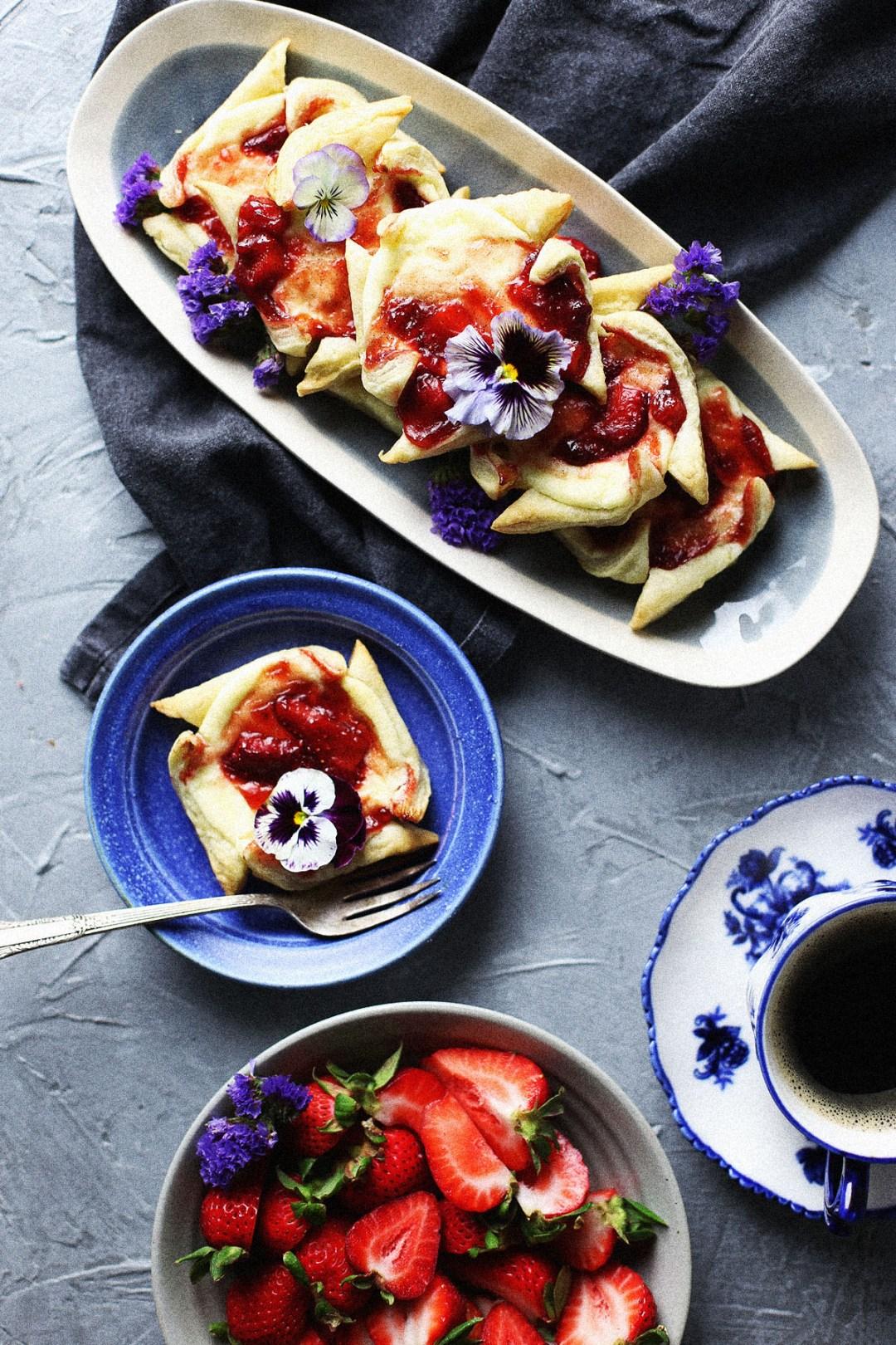 Strawberry Rhubarb Ricotta Cheese Danish