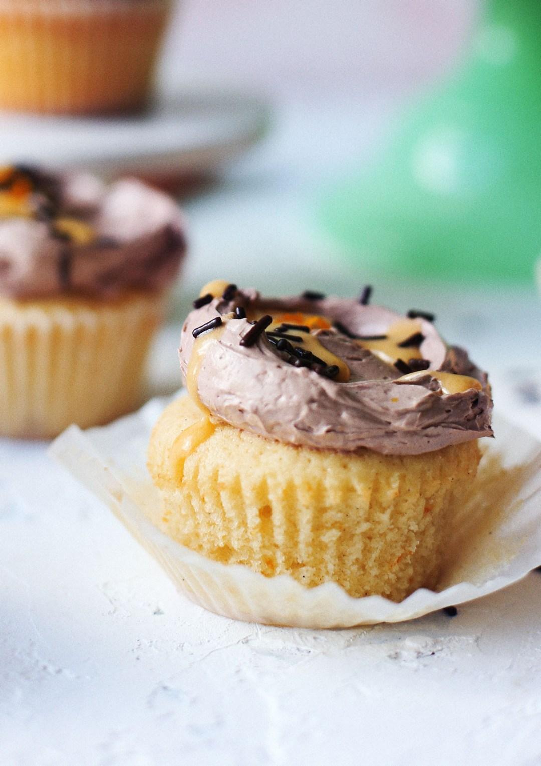 Orange Spice Cupcakes with Chocolate Italian Meringue Buttercream and Orange Curd