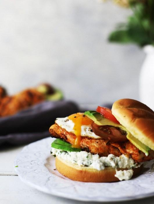 Marinated Barbecue Chicken Sandwiches with Poblano Pepper Ricotta Spread