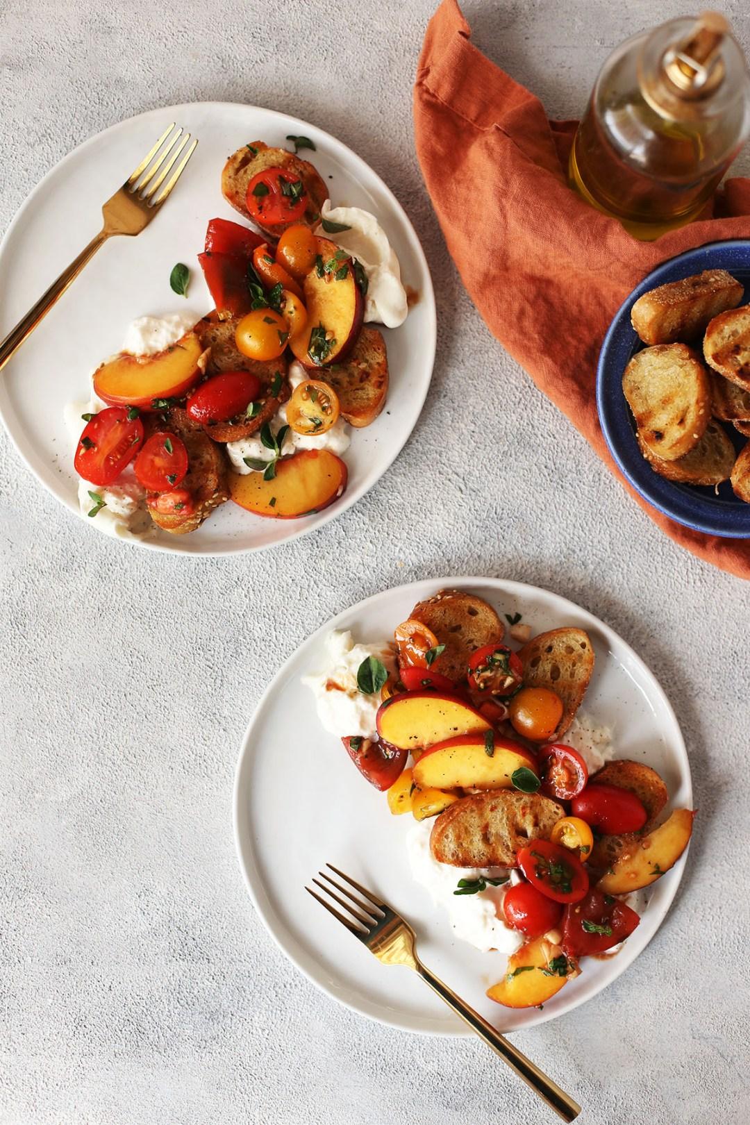 Peach Caprese Crostini Salad with Buratta
