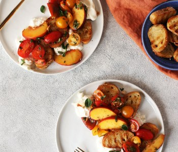 Peach Caprese Crostini Salad with Burotta