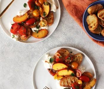 Peach Caprese Crostini Salad with Burotta