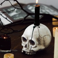 Spooky Skull Candle Holder, Halloween: Olive & Cocoa