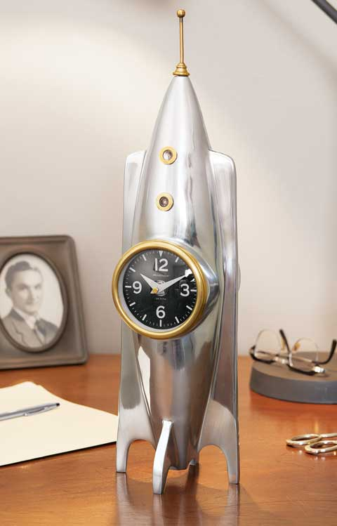 Vintage Rocket Ship Clock All Gifts Olive  Cocoa