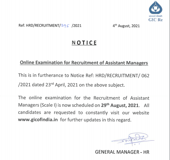 GIC Assistant Manager Exam Date 2021