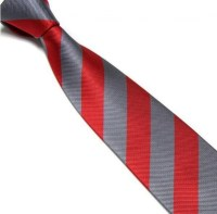 Red and Grey Striped Club Tie | With Free And Fast UK Delivery