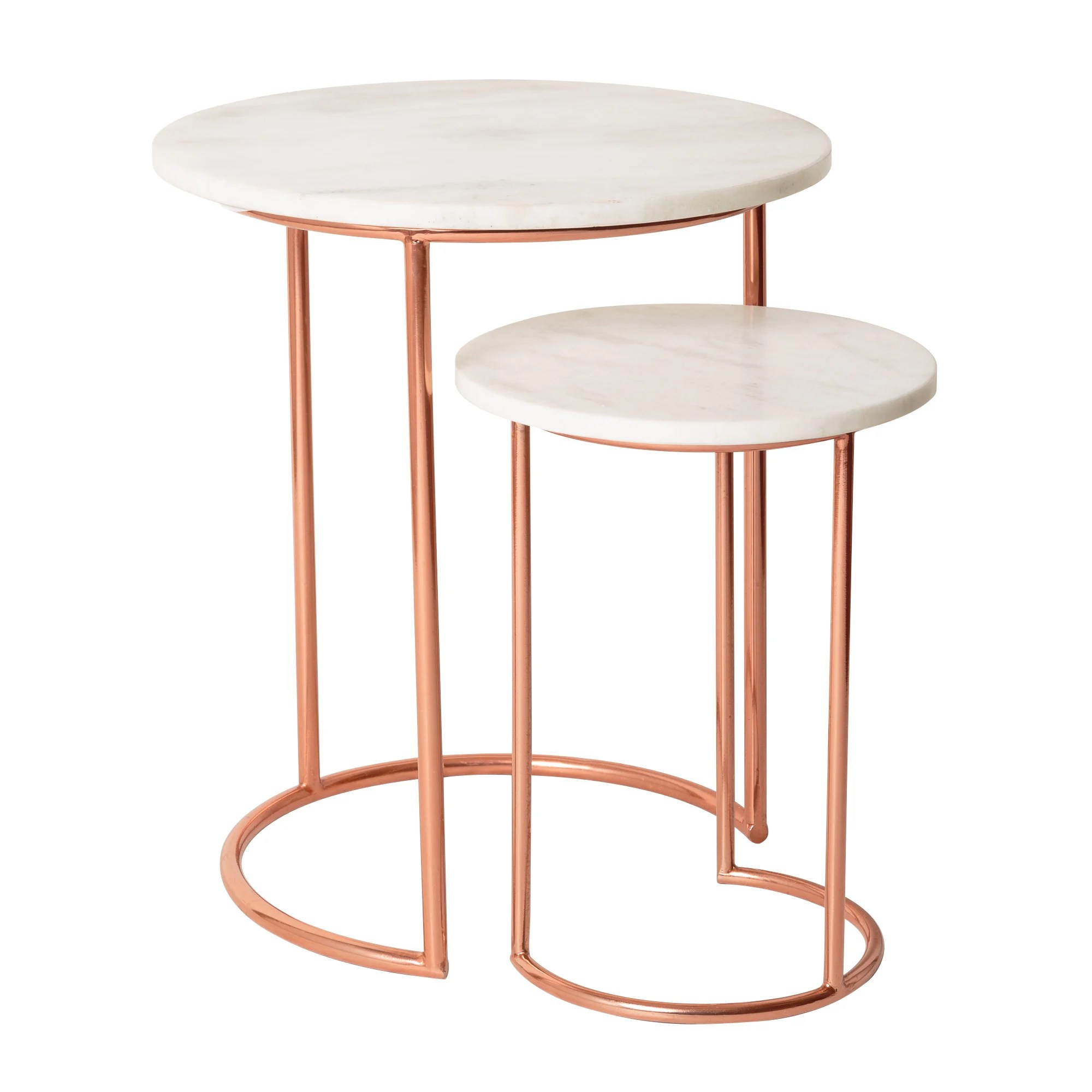 White Muse Marble  Copper Nesting Tables  Oliver Bonas