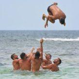 team work on beach