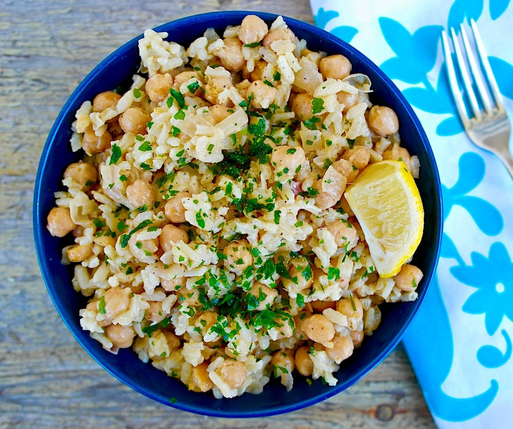15. Greek Chickpeas and Rice with Lemon and Tahini