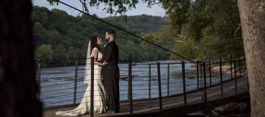 Bridge to Azalea Island at Olivette, wedding venue in Asheville, NC.