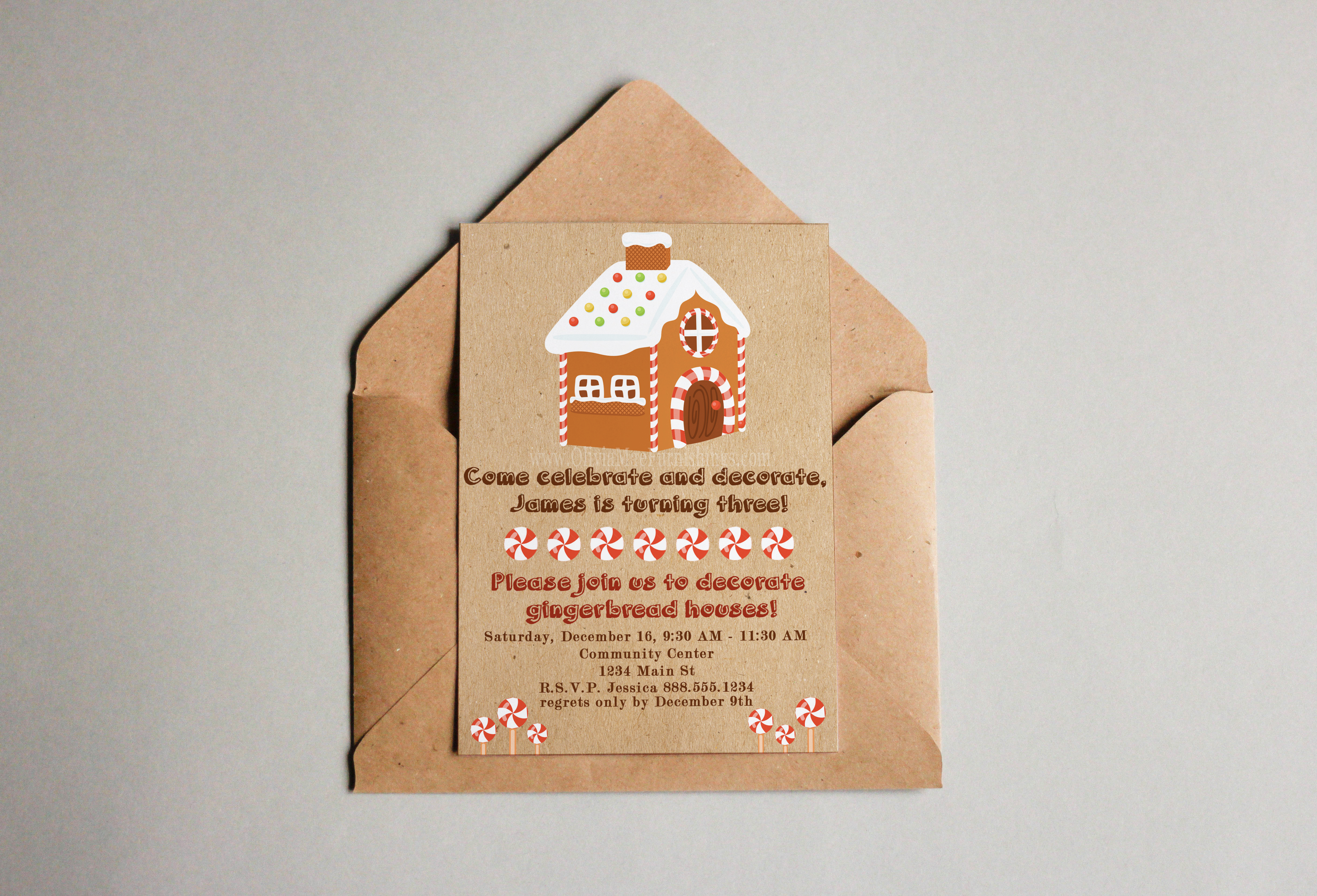 Gingerbread House Party Invitation - Instant Download Print | Olivia ...