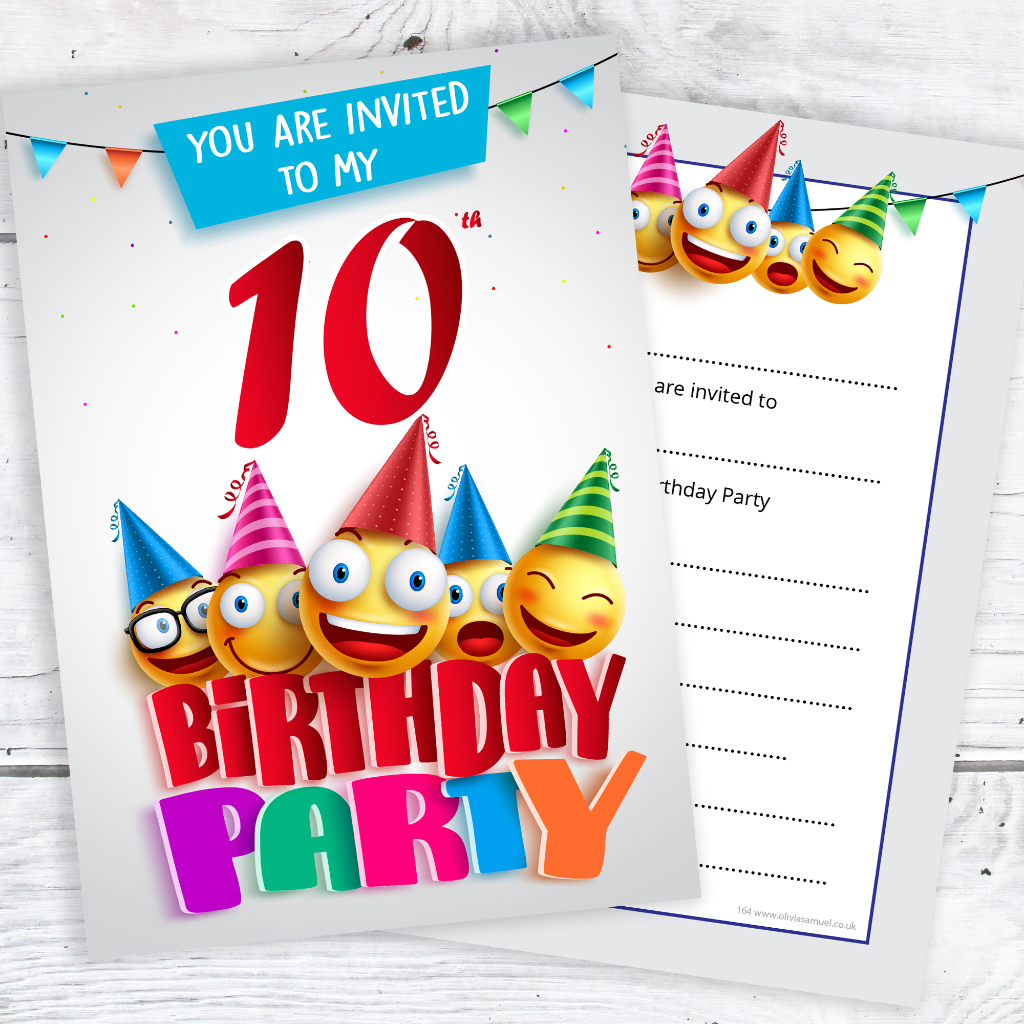 10th birthday party invites emoji style ready to write with envelopes pack 10