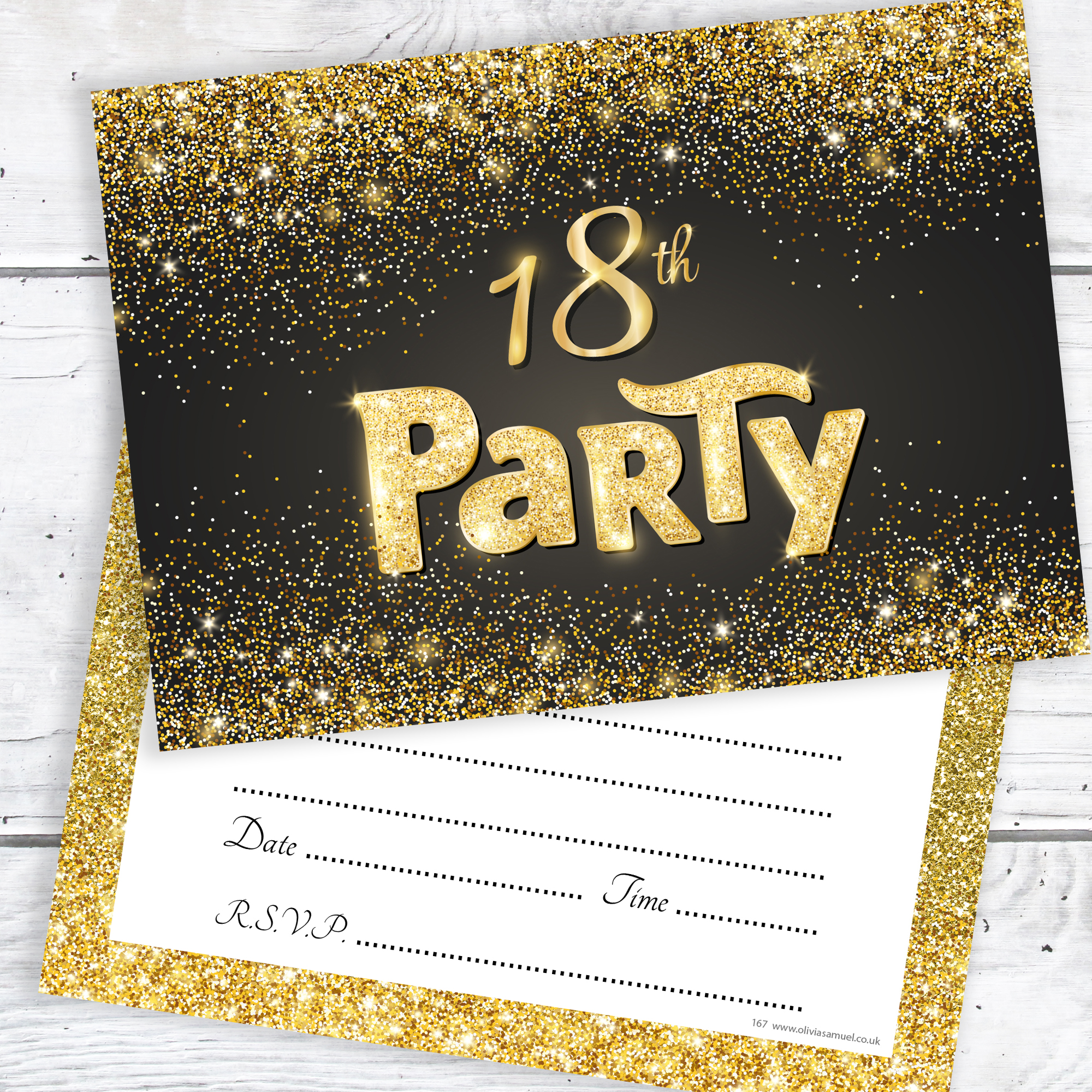black and gold effect 18th birthday party invitations ready to write with envelopes pack 10