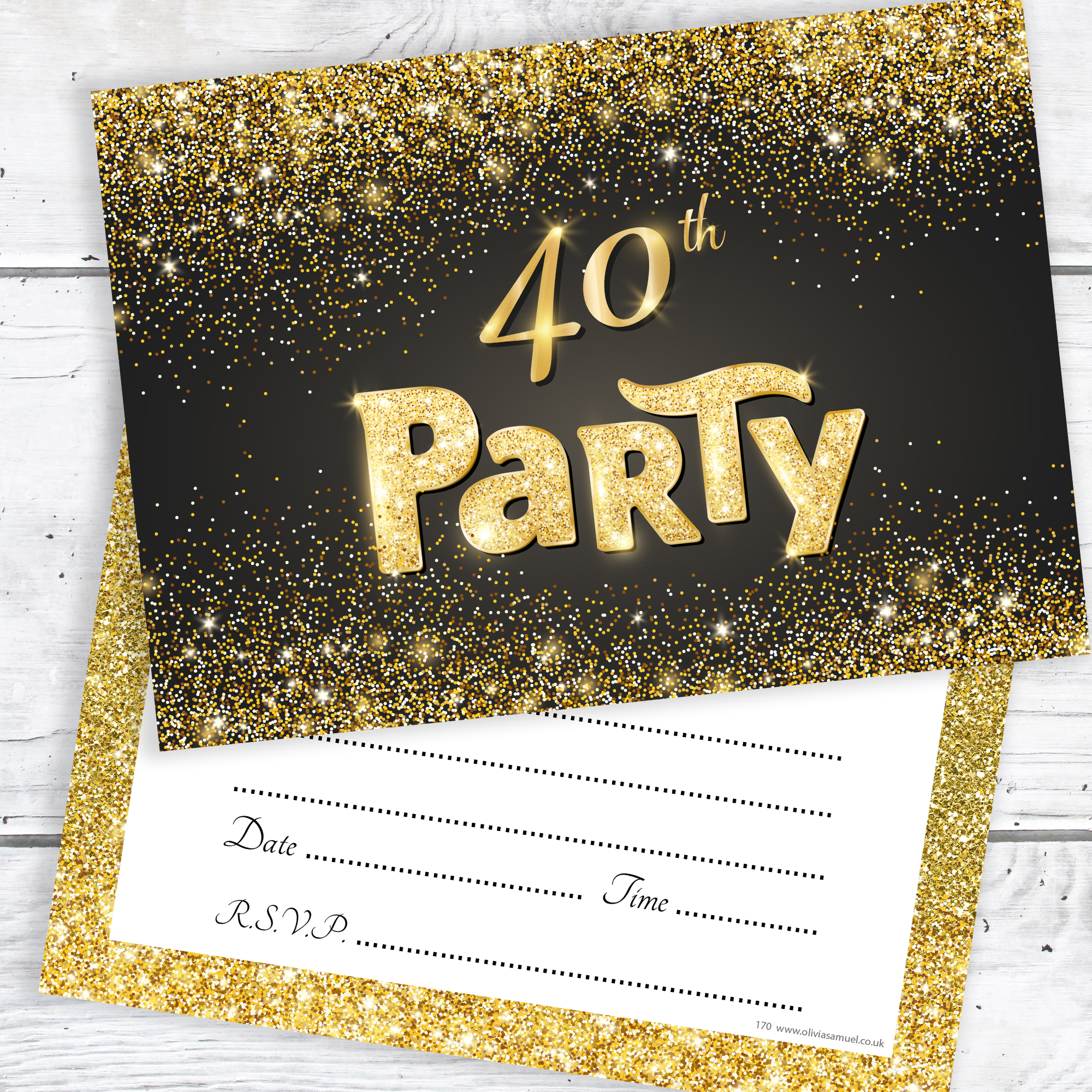 Black And Gold Effect 40th Birthday Party Invitations