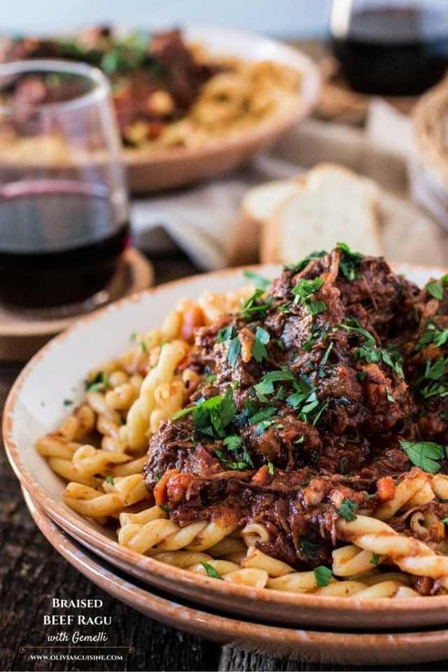 Braised Beef Ragu With Gemelli Www Oliviascuisine Com A Classic Italian Dish