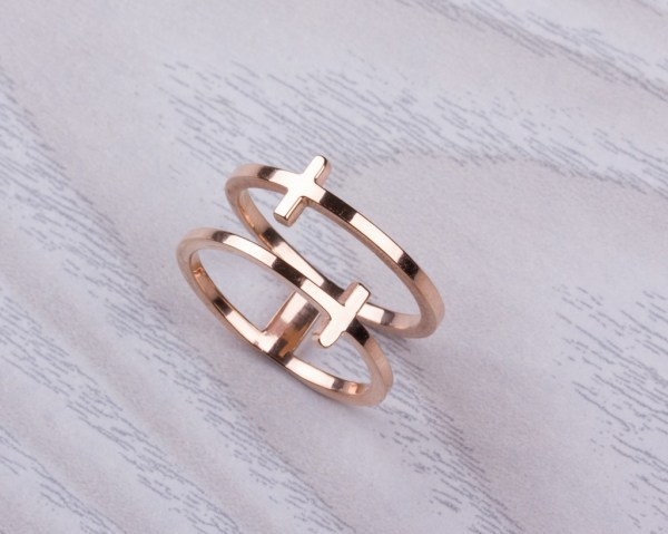 Rose Gold Cross Ring - Double