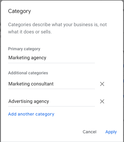 Google My Business listing categories