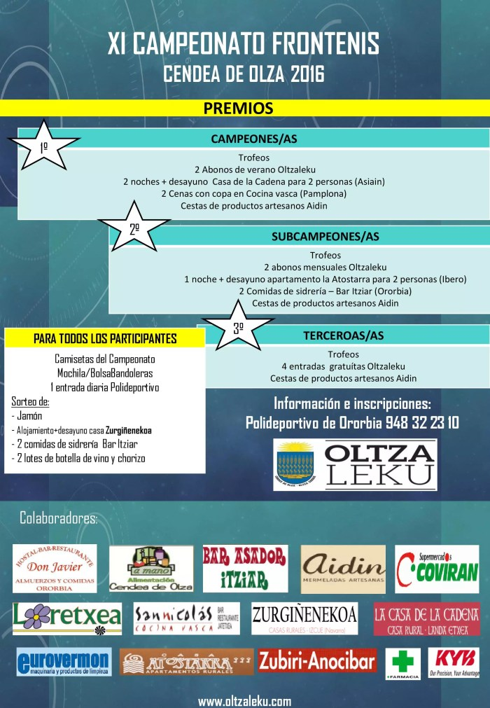 Premios campeonato Frontenis Cendea de Olza