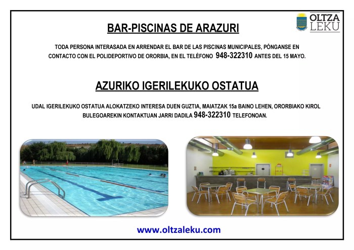 Arrendamiento Bar Piscinas Arazuri