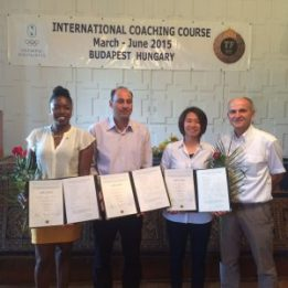 Left to right: Graduates Mariama Eastmond (Barbados), Sadehg Karbassi (Iran), Peitty Wong (Malaysia), and Gyorgy Voroshe (Hungarian Badminton Coach)