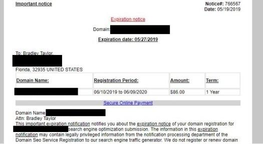 domain scam notice