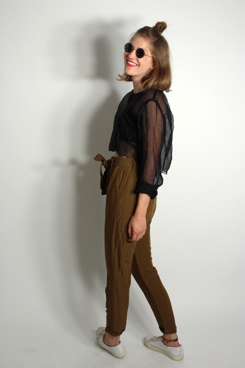 Transparentes schwarzes Shirt kurz Gwyneth  Oma Klara