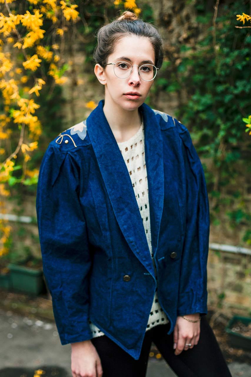 Jeansjacke blau verziert Carola  Oma Klara