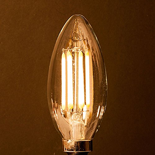 C35 6 Watt Led Filament Candelabra Bulb Dimmable Torpedo Tip Soft White 2700k E12 Base Equivalent To