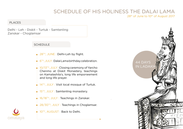 Schedule of his Holiness in Ladakh