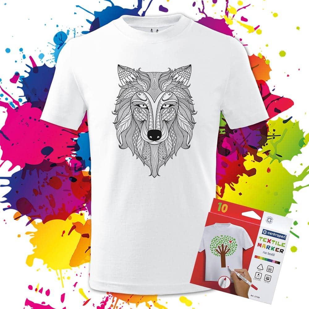 Detské tričko Vlk - Omaľovánka na Tričku - Oma & Luj