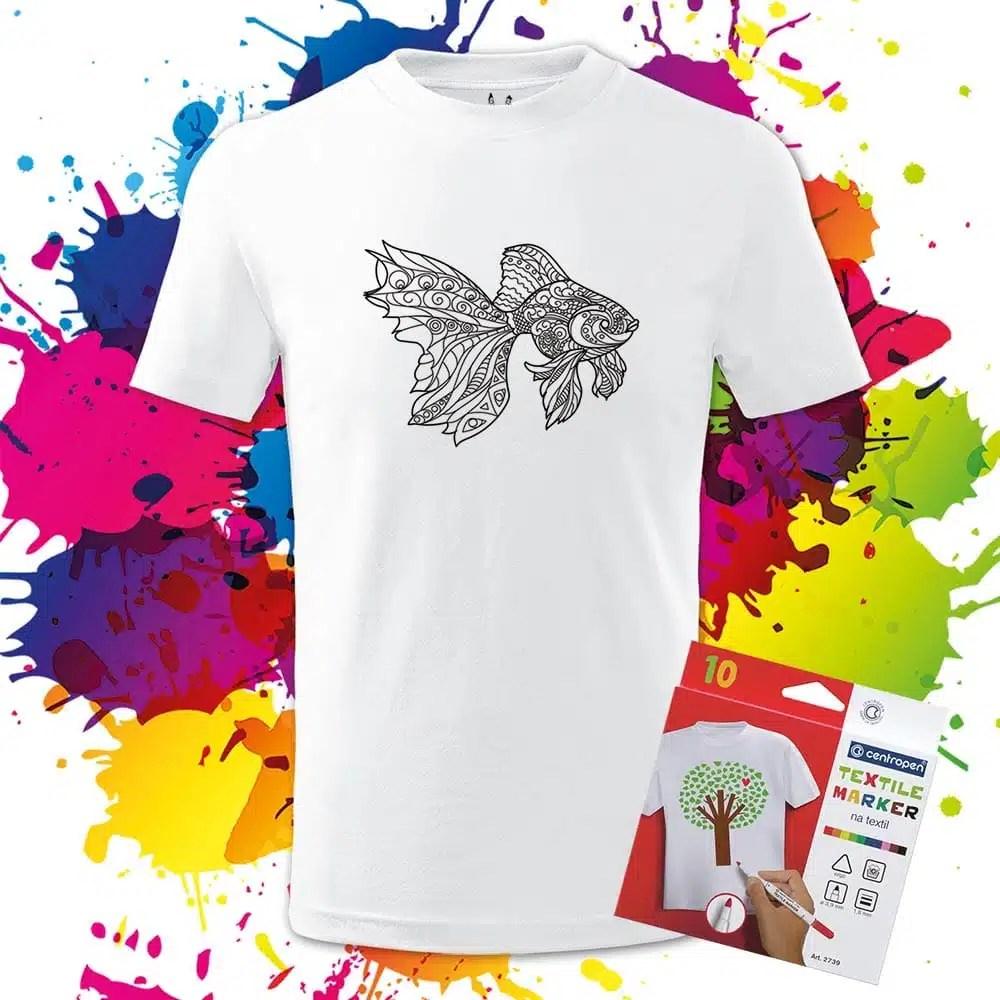 Detské tričko Zlatá rybka - Omaľovánka na Tričku - Oma & Luj