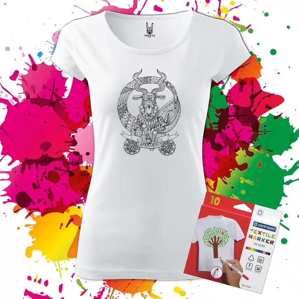 Dámske tričko Znamenie Kozorožec - Omaľovánka na tričku - Oma & Luj
