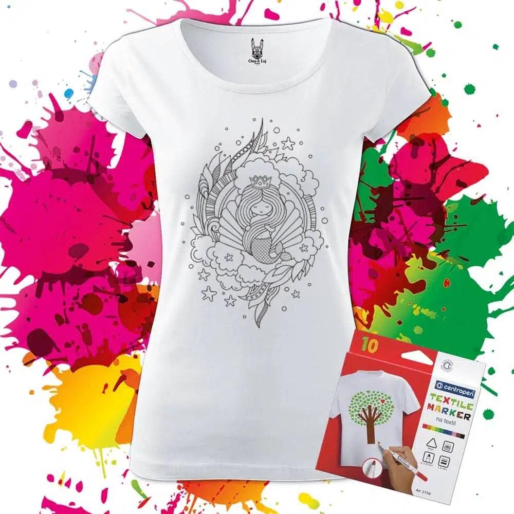 Balenie Dámske tričko Fantasy Morská panna - Omaľovánka na tričku - Oma & Luj