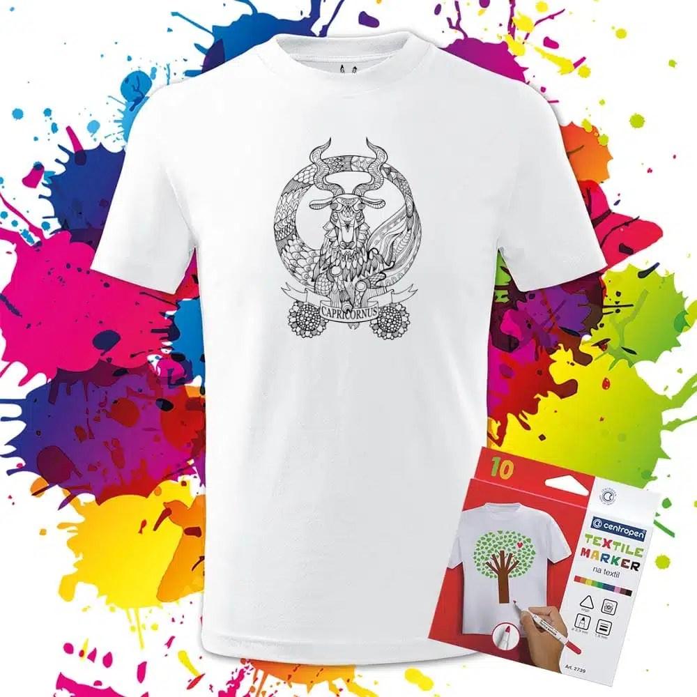 Detské tričko Znamenie Kozorožec - Omaľovánka na tričku - Oma & Luj