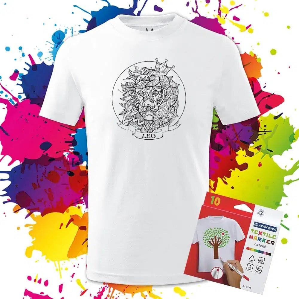 Detské tričko Lev - Znamenia - Omaľovánka na tričku - Oma & Luj