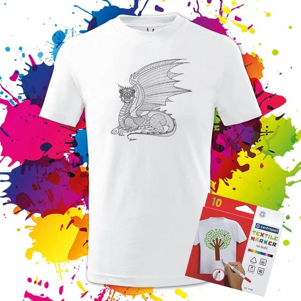 Detské tričko Drak-Dragon profil - Omaľovánka na Tričku - Oma & Luj